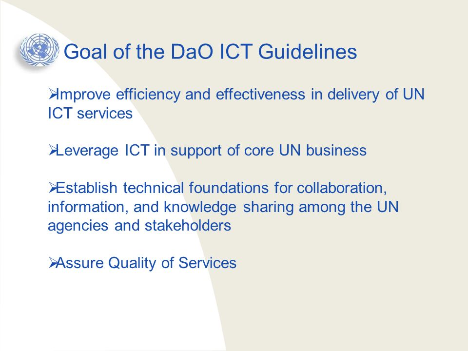 Goal of the DaO ICT Guidelines