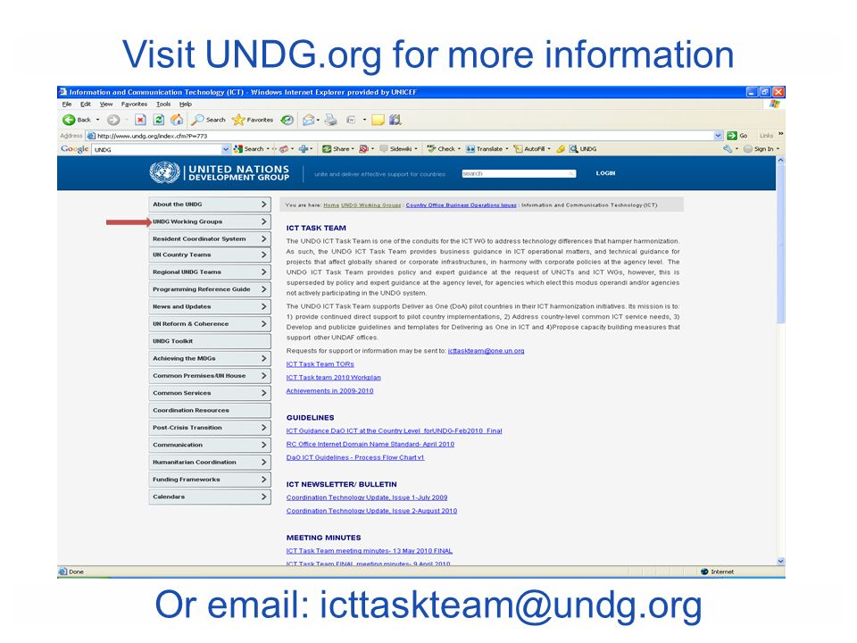 Visit UNDG.org for more information