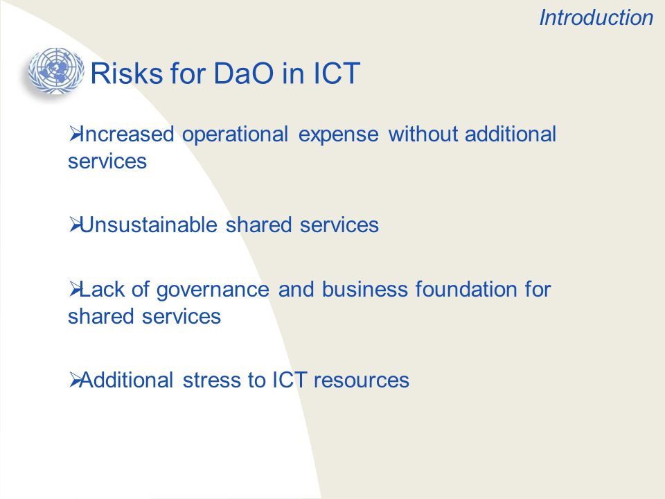 Risks for DaO in ICT Introduction