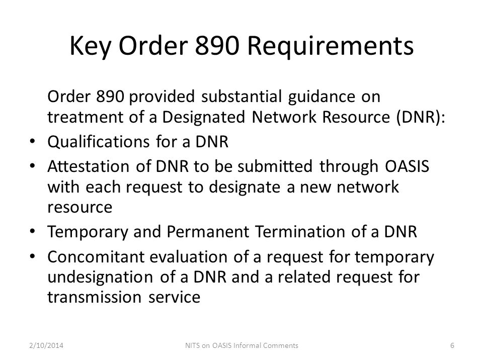 Key Order 890 Requirements