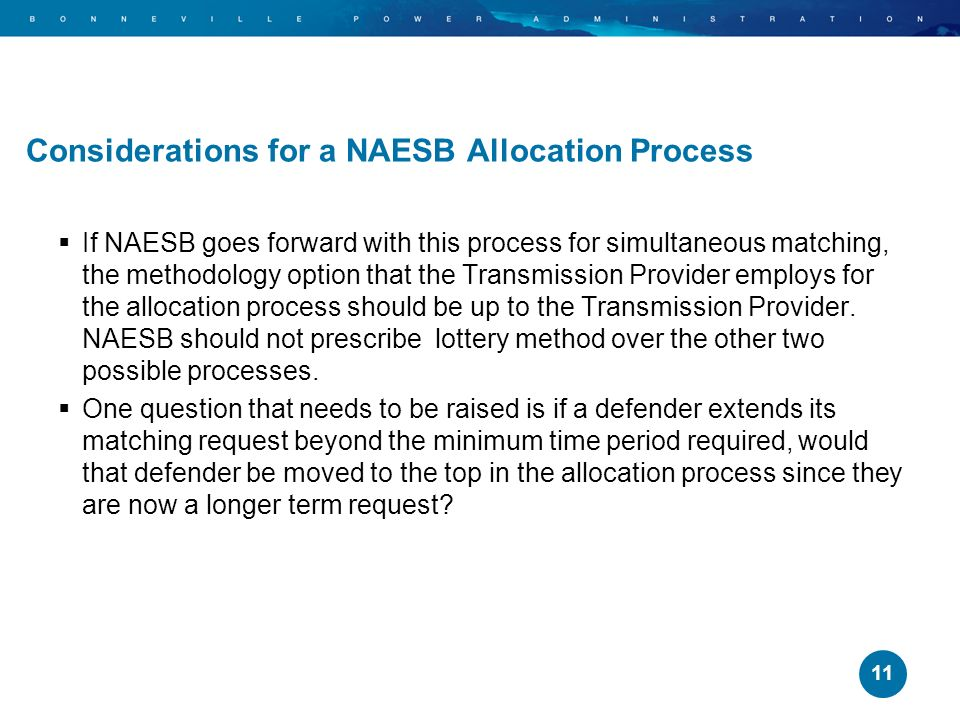 Considerations for a NAESB Allocation Process