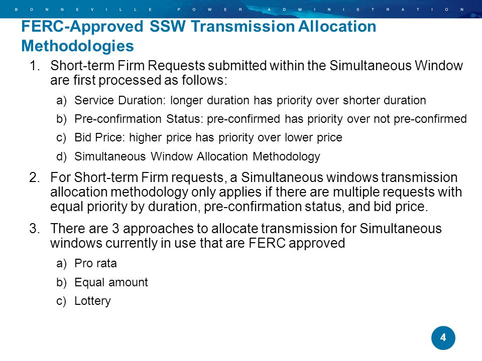 FERC-Approved SSW Transmission Allocation Methodologies