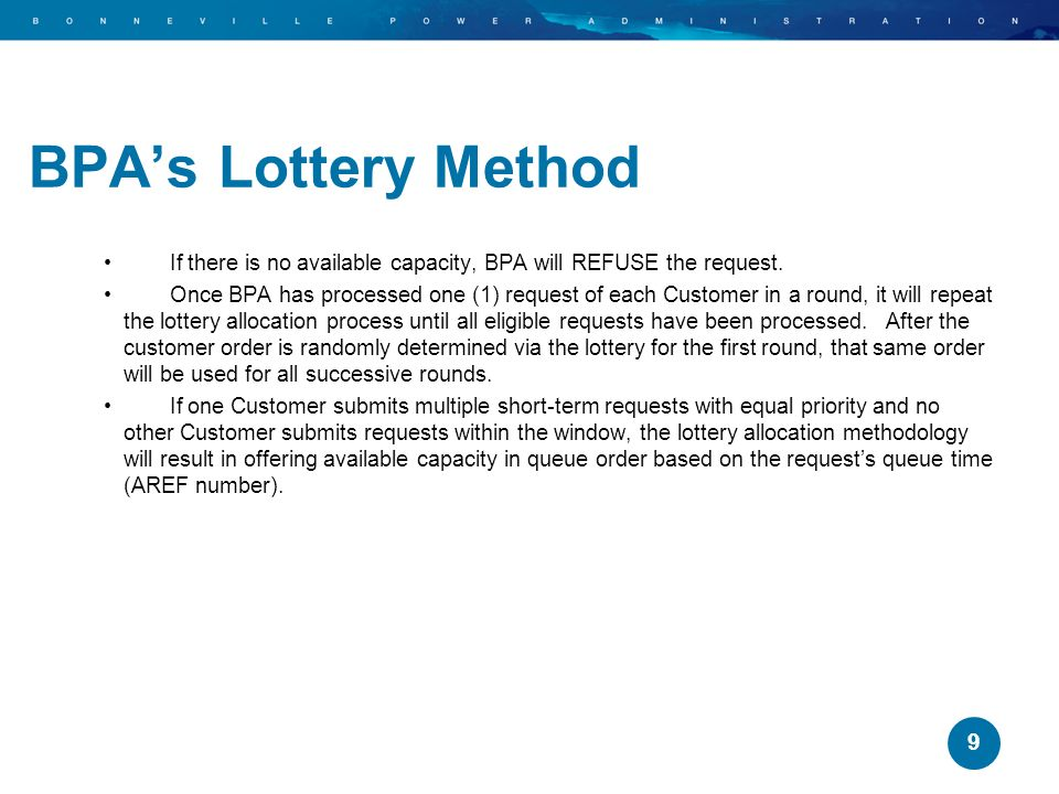 BPA's Lottery Method If there is no available capacity, BPA will REFUSE the request.