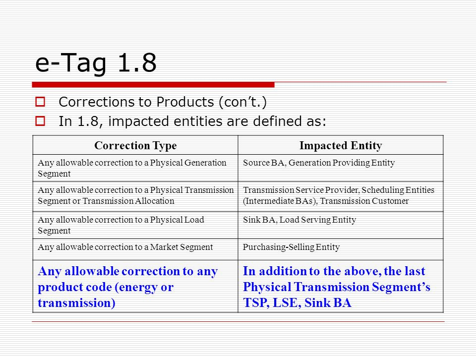e-Tag 1.8 Corrections to Products (con't.)