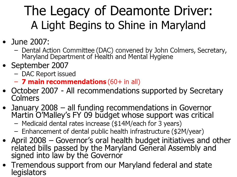 The Legacy of Deamonte Driver: A Light Begins to Shine in Maryland