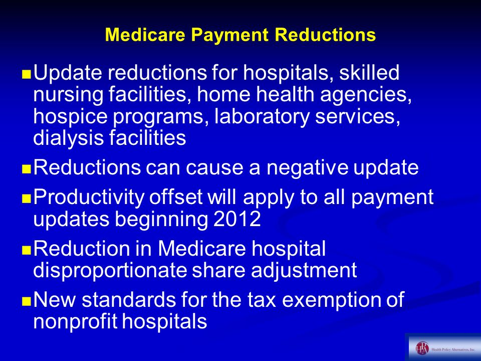 Medicare Payment Reductions