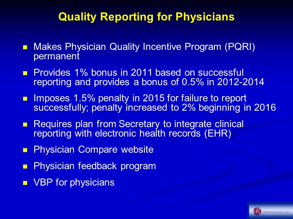 Quality Reporting for Physicians