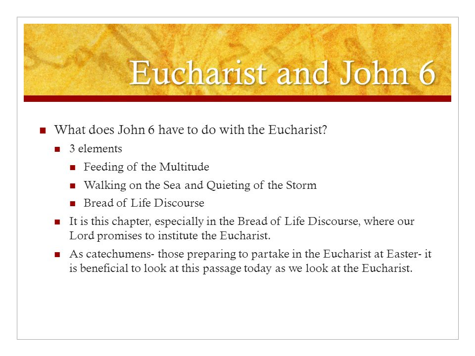Eucharist and John 6 What does John 6 have to do with the Eucharist