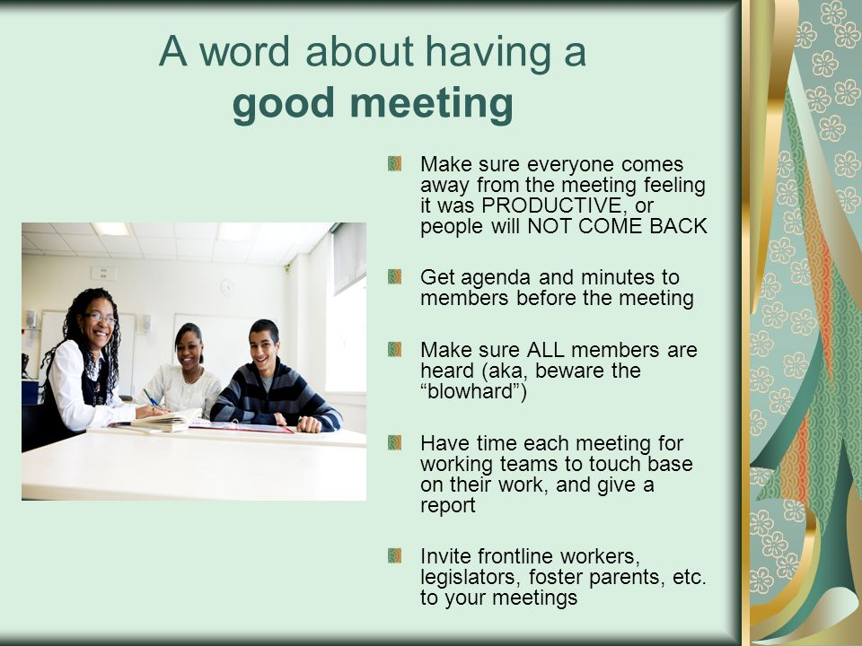 A word about having a good meeting
