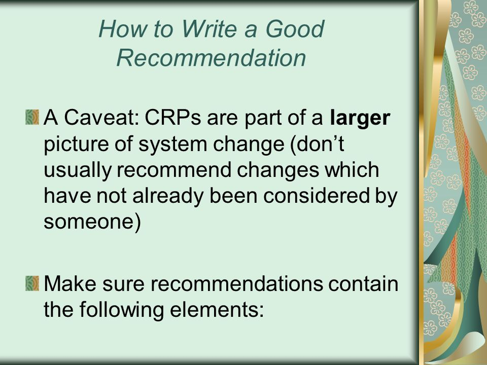 How to Write a Good Recommendation
