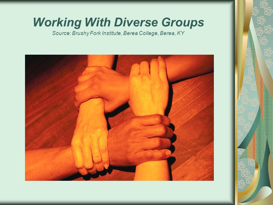 Working With Diverse Groups Source: Brushy Fork Institute, Berea College, Berea, KY