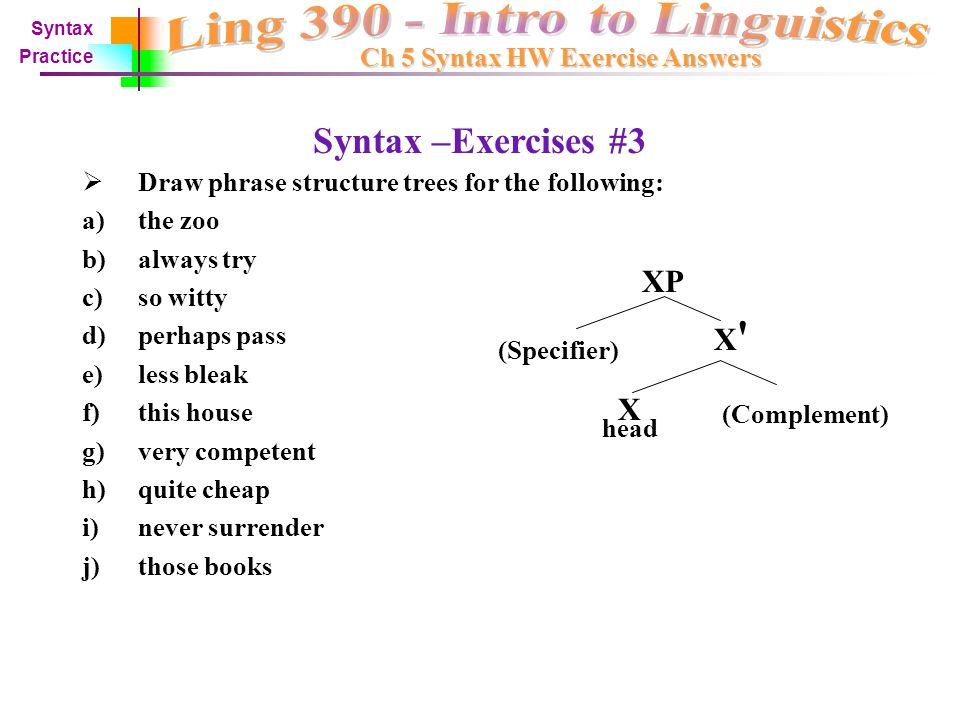 Syntax –Old Exercise #2 Identify the syntactic category of each word