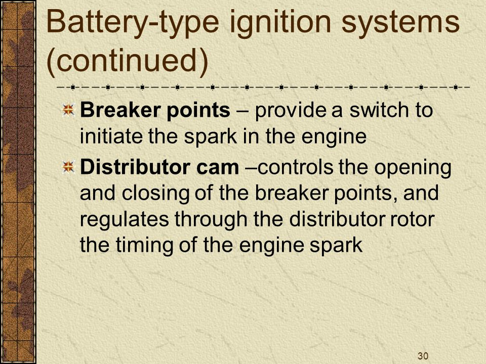 Battery-type ignition systems (continued)