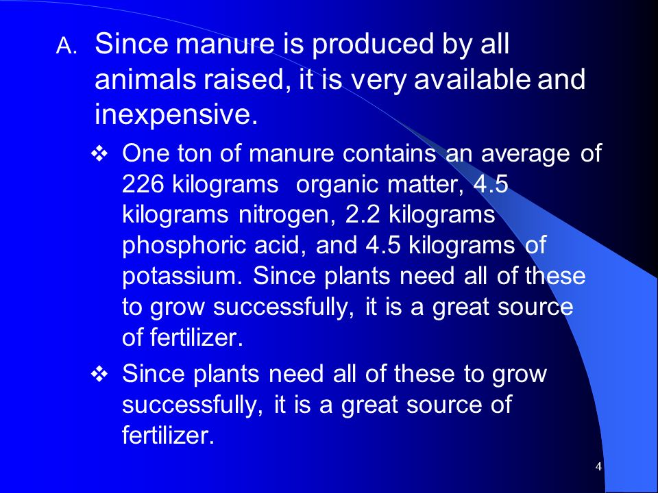 Since manure is produced by all animals raised, it is very available and inexpensive.