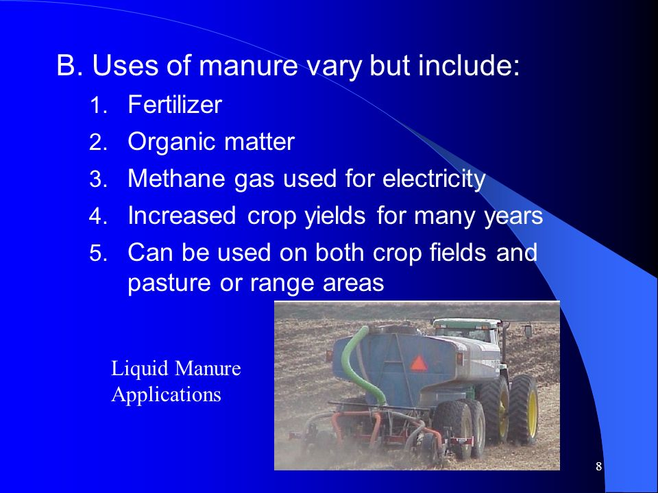 B. Uses of manure vary but include: