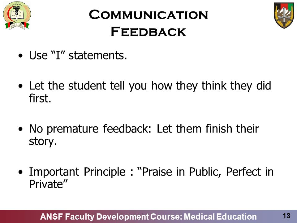 Communication Feedback