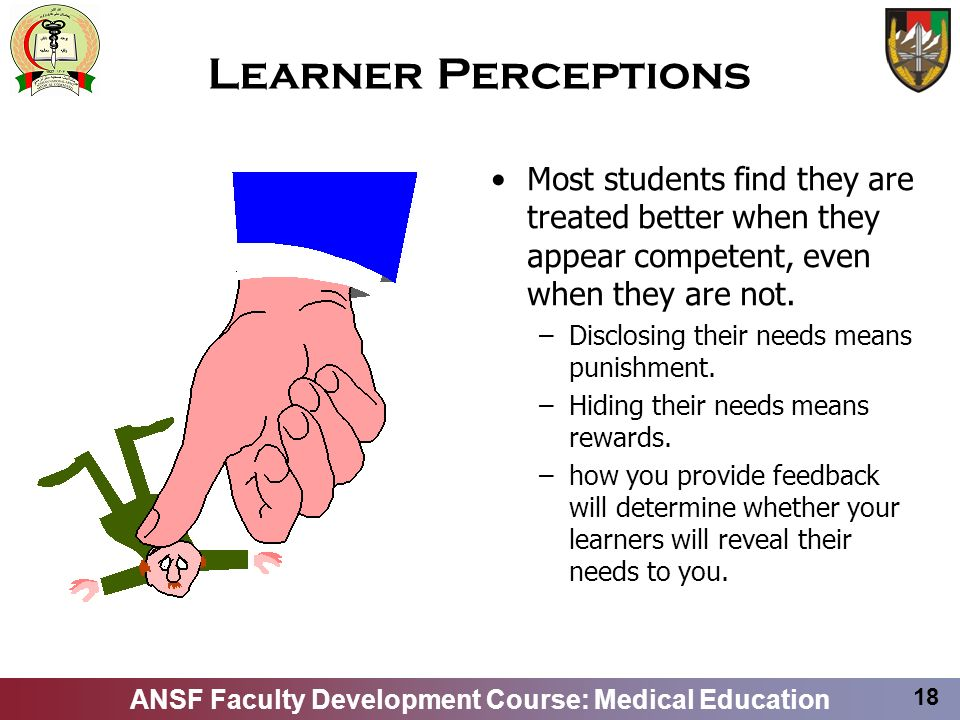 Learner Perceptions Most students find they are treated better when they appear competent, even when they are not.