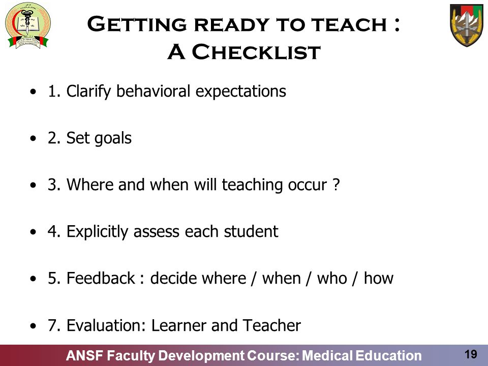 Getting ready to teach : A Checklist