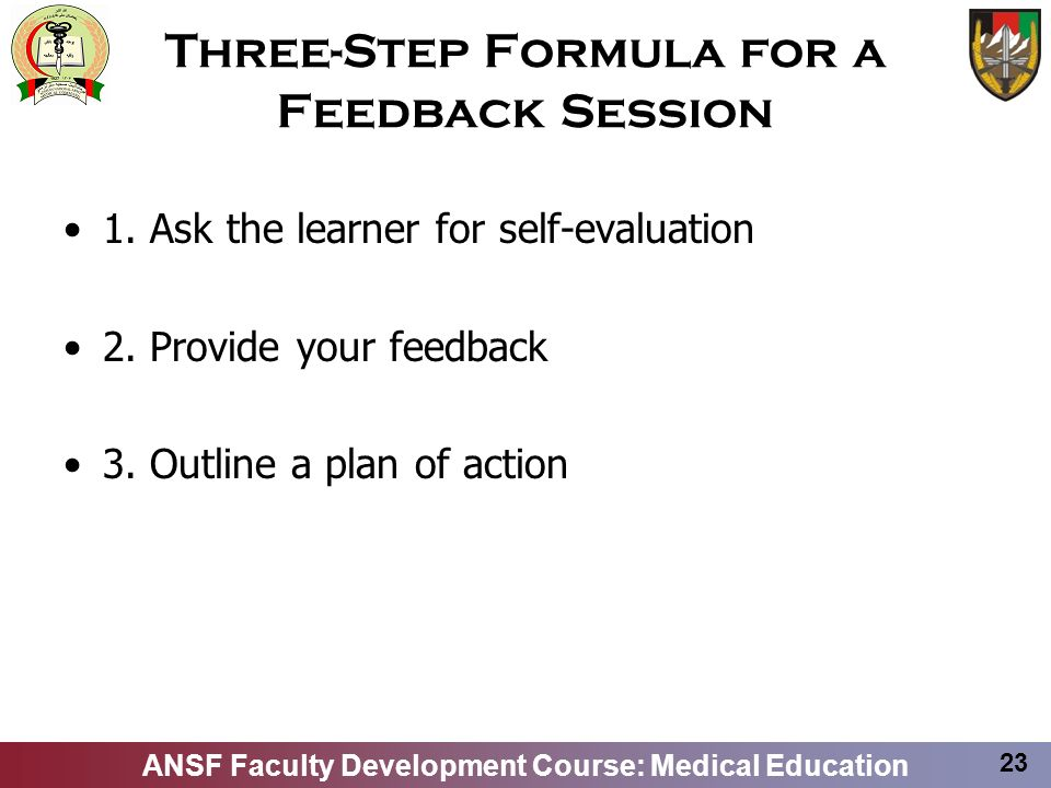Three-Step Formula for a Feedback Session