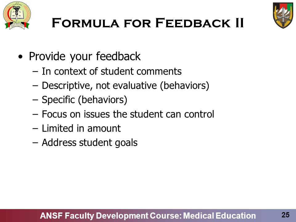 Formula for Feedback II