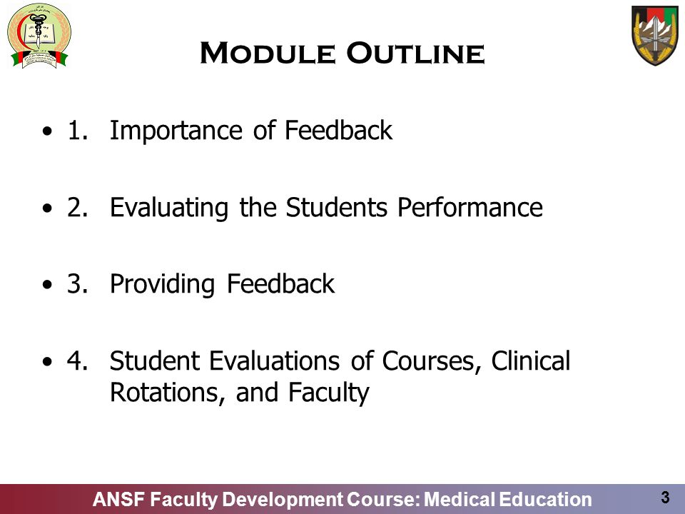 Module Outline 1. Importance of Feedback