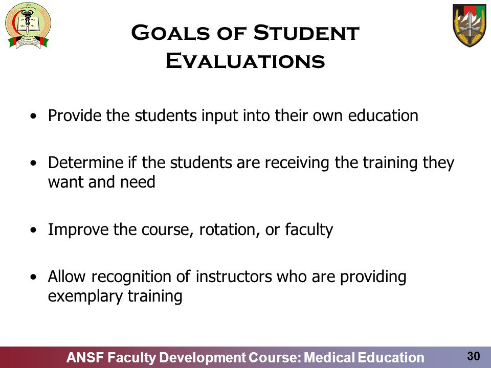 Goals of Student Evaluations
