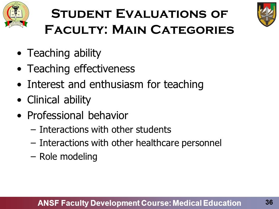 Student Evaluations of Faculty: Main Categories