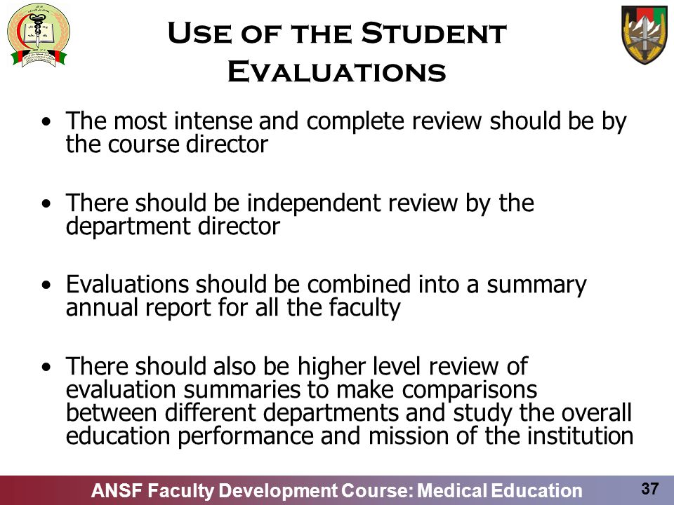 Use of the Student Evaluations