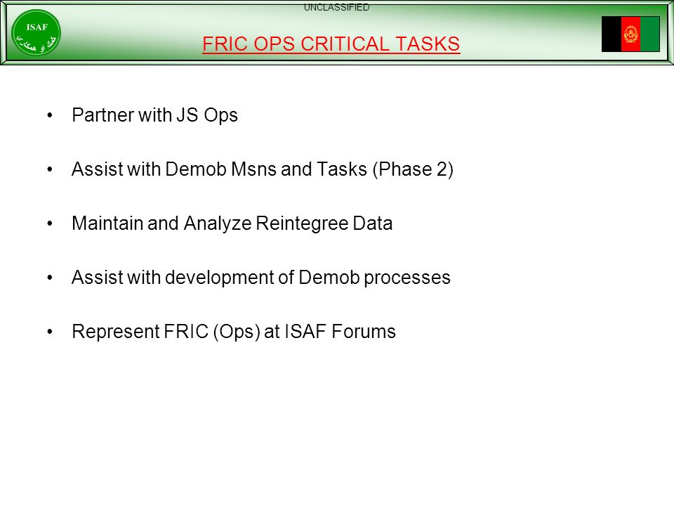 FRIC OPS CRITICAL TASKS
