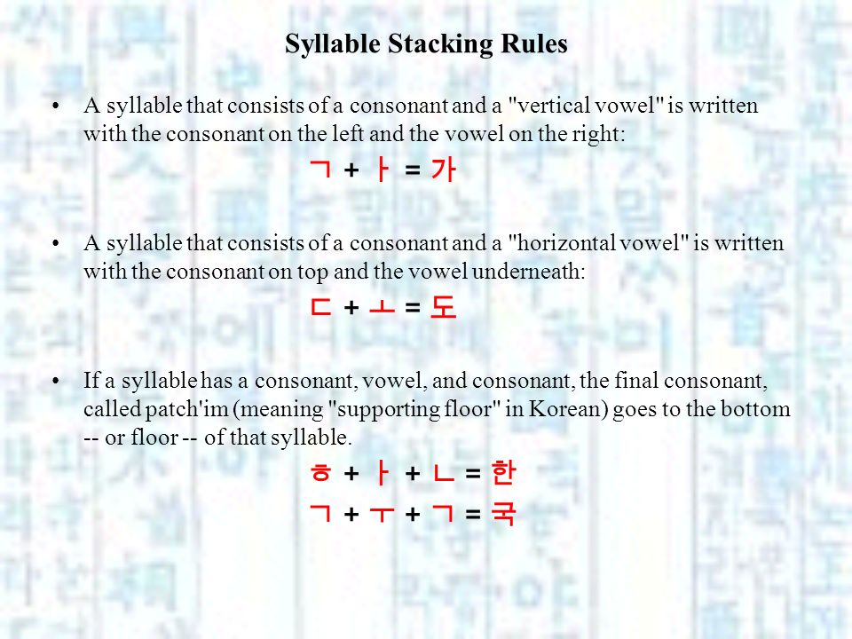 Syllable Stacking Rules