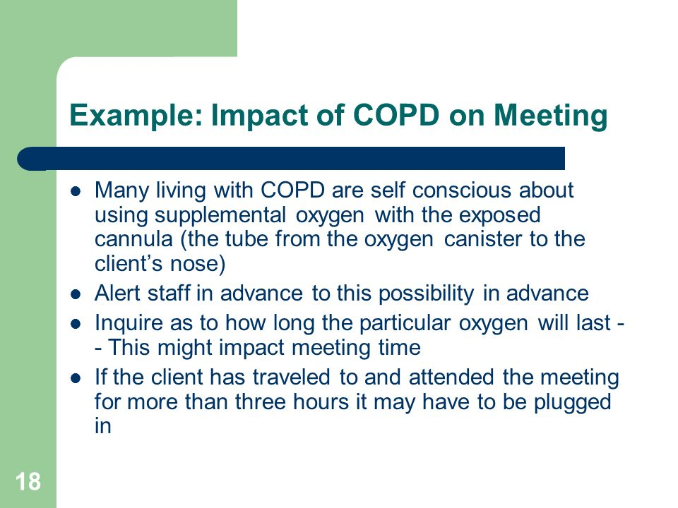 Example: Impact of COPD on Meeting