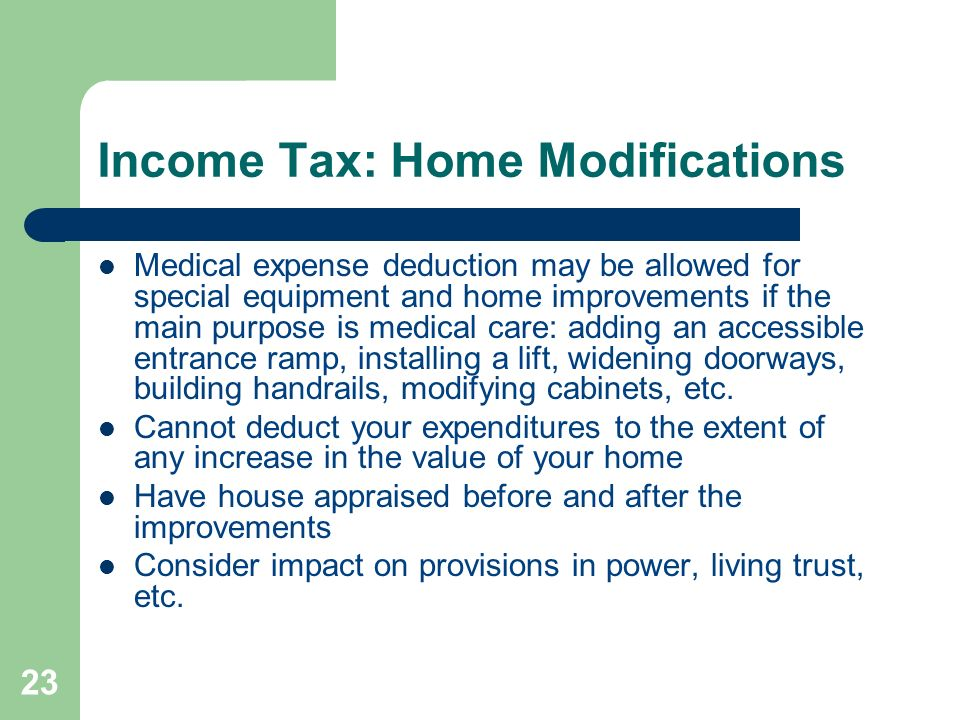Income Tax: Home Modifications