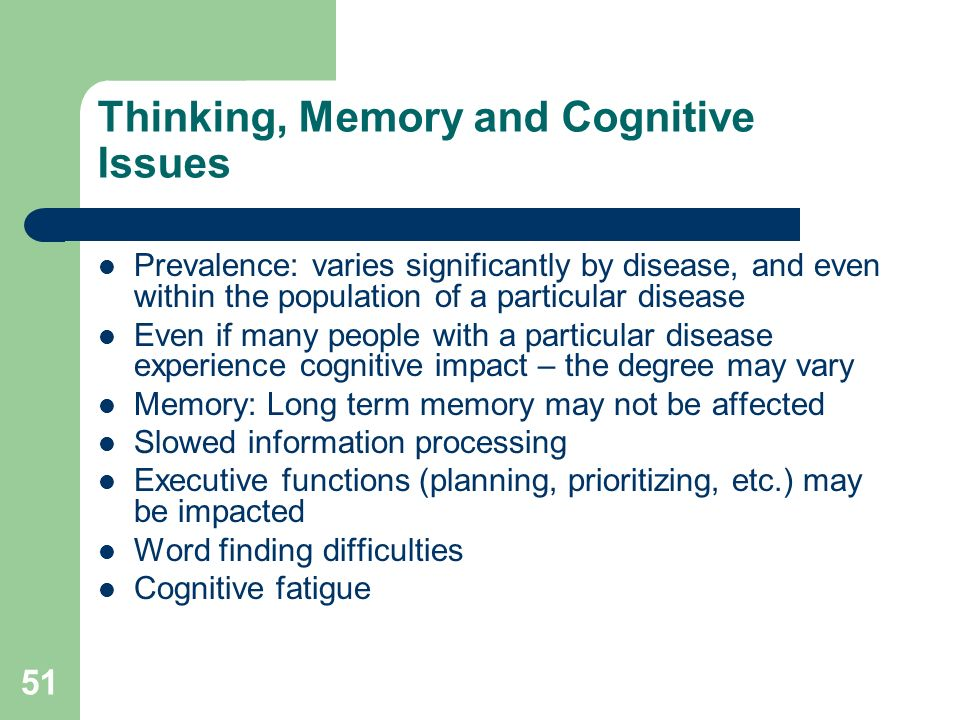 Thinking, Memory and Cognitive Issues