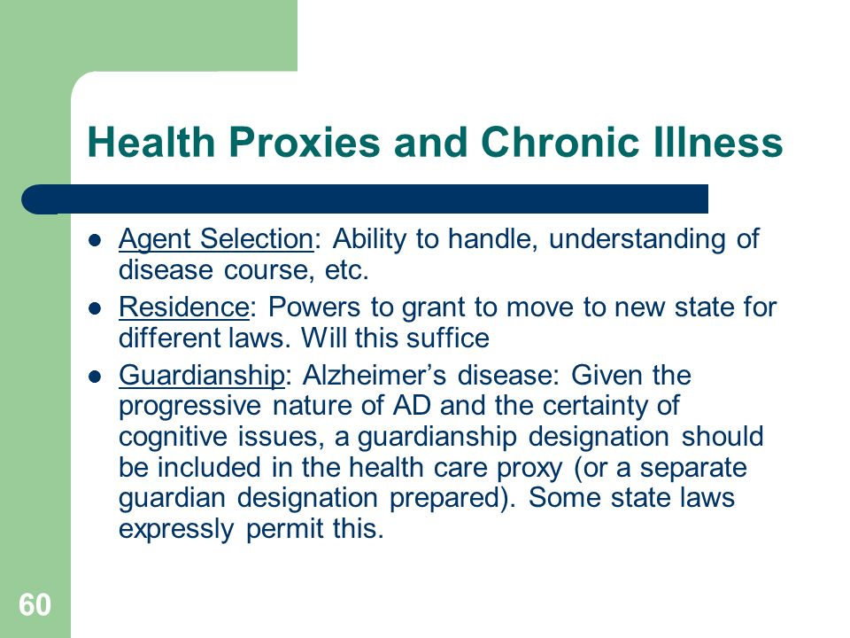 Health Proxies and Chronic Illness