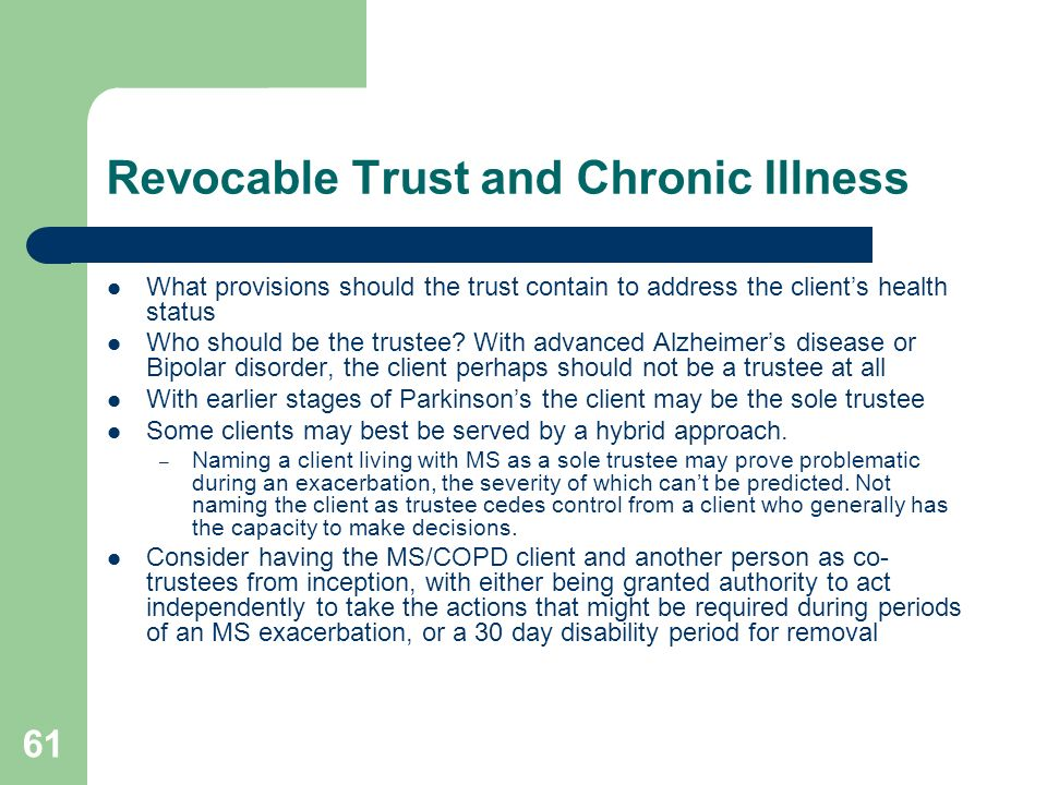 Revocable Trust and Chronic Illness