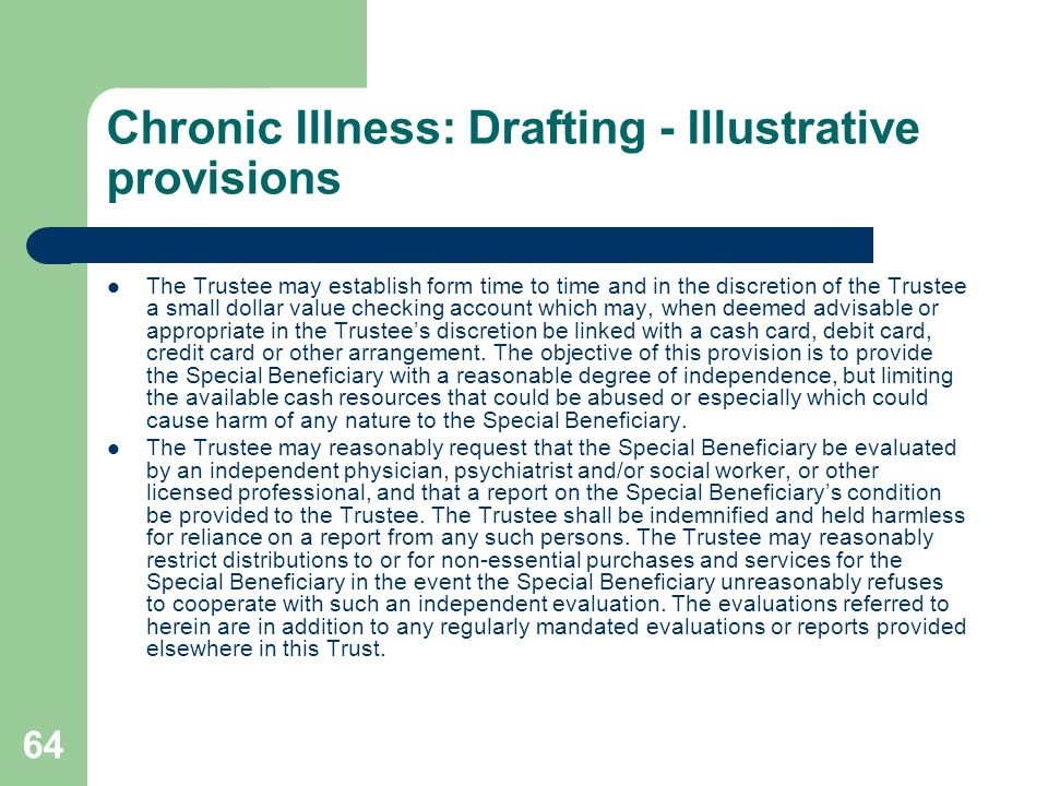 Chronic Illness: Drafting - Illustrative provisions