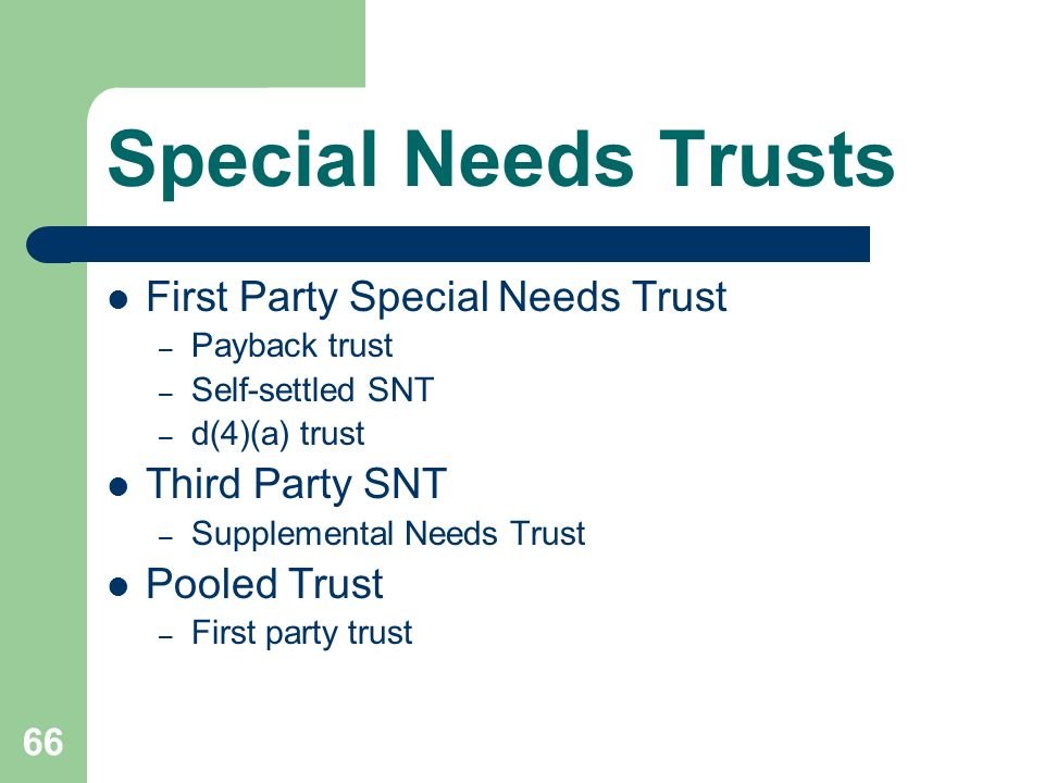 Special Needs Trusts First Party Special Needs Trust Third Party SNT