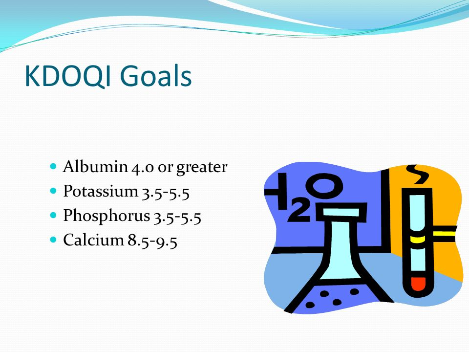 KDOQI Goals Albumin 4.0 or greater Potassium 3.5-5.5