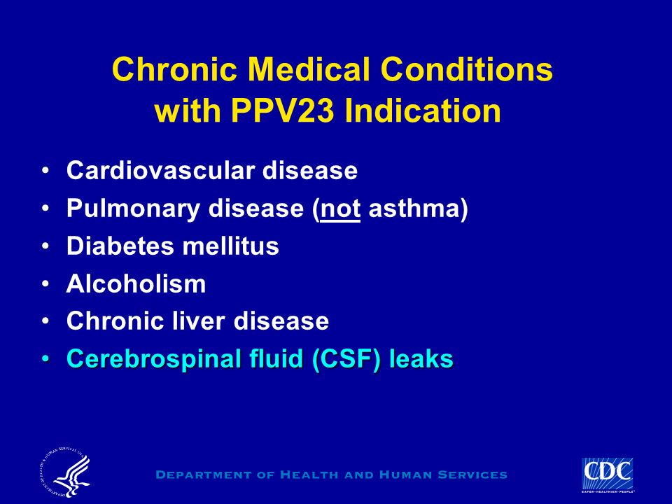 Chronic Medical Conditions with PPV23 Indication