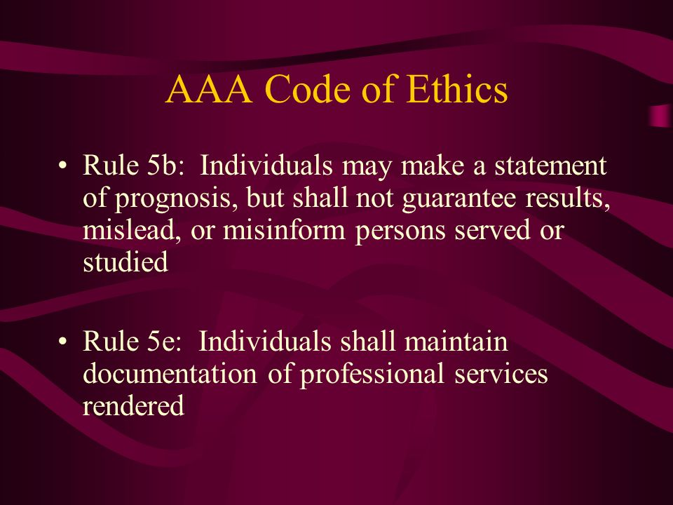 AAA Code of Ethics