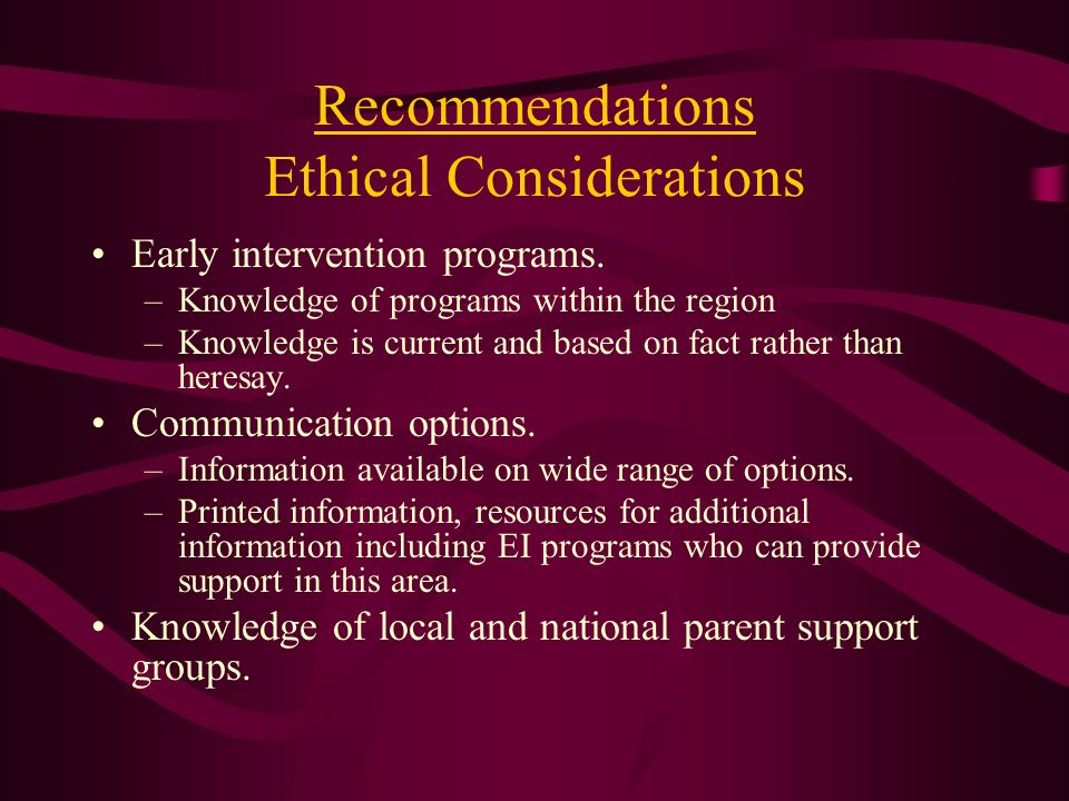 Recommendations Ethical Considerations