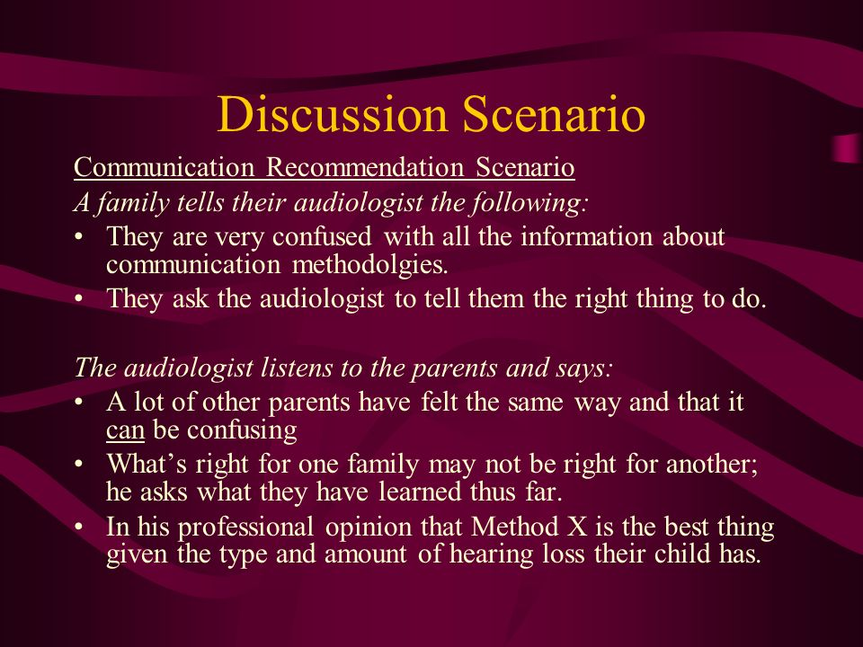 Discussion Scenario Communication Recommendation Scenario