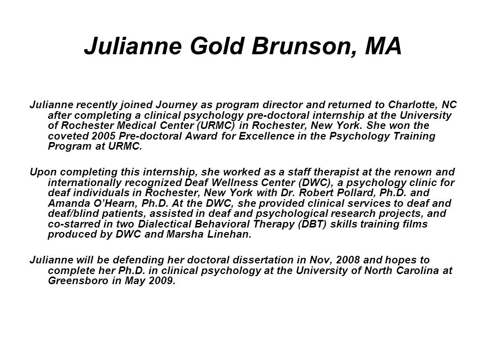 Julianne Gold Brunson, MA