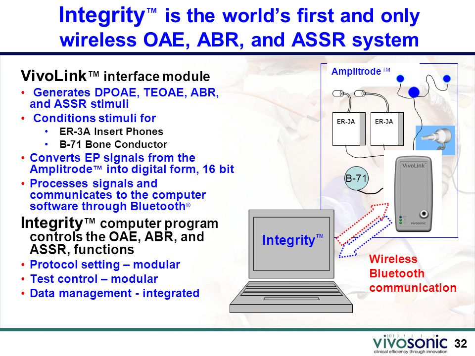 Integrity™ is the world's first and only wireless OAE, ABR, and ASSR system