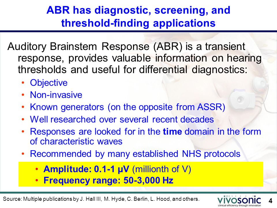 ABR has diagnostic, screening, and threshold-finding applications