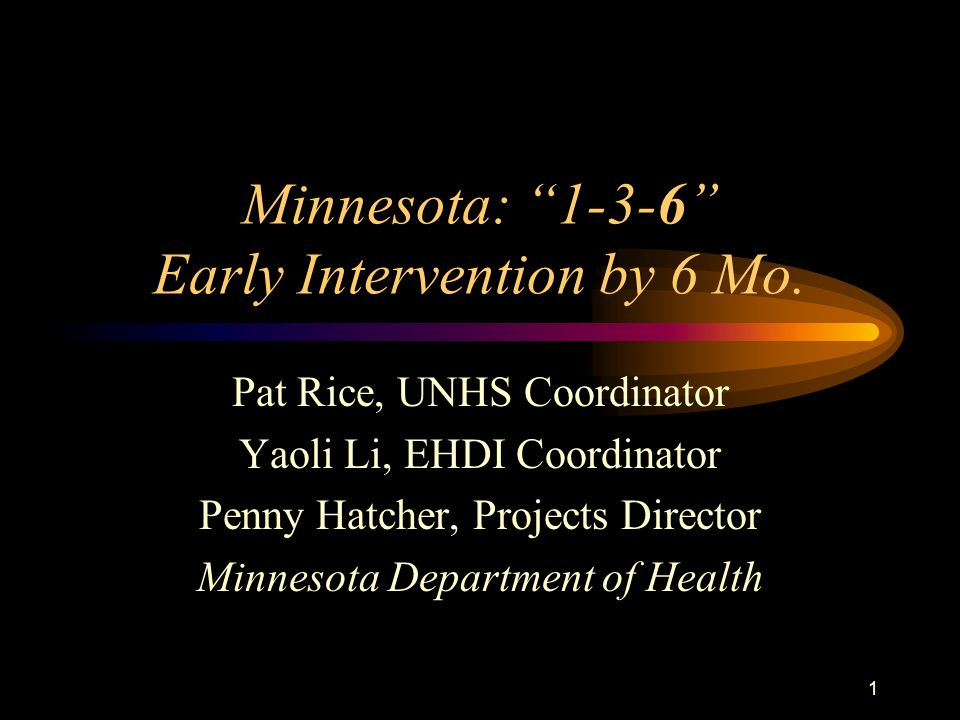 Minnesota: 1-3-6 Early Intervention by 6 Mo.