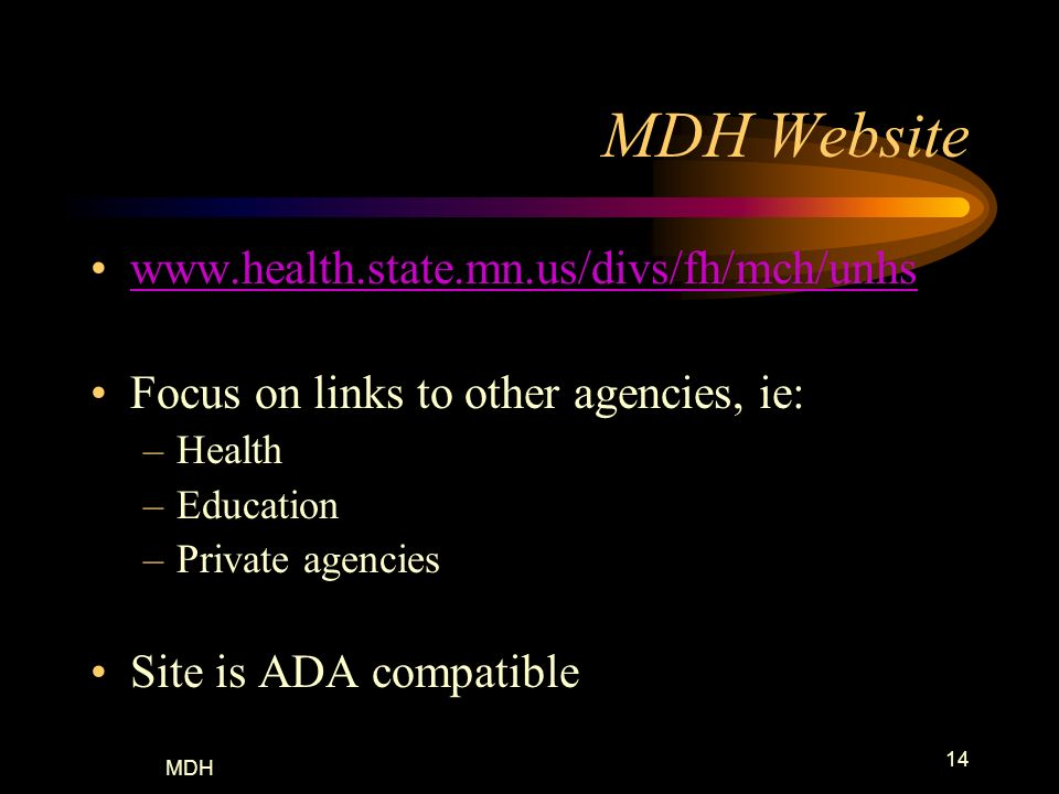 MDH Website www.health.state.mn.us/divs/fh/mch/unhs