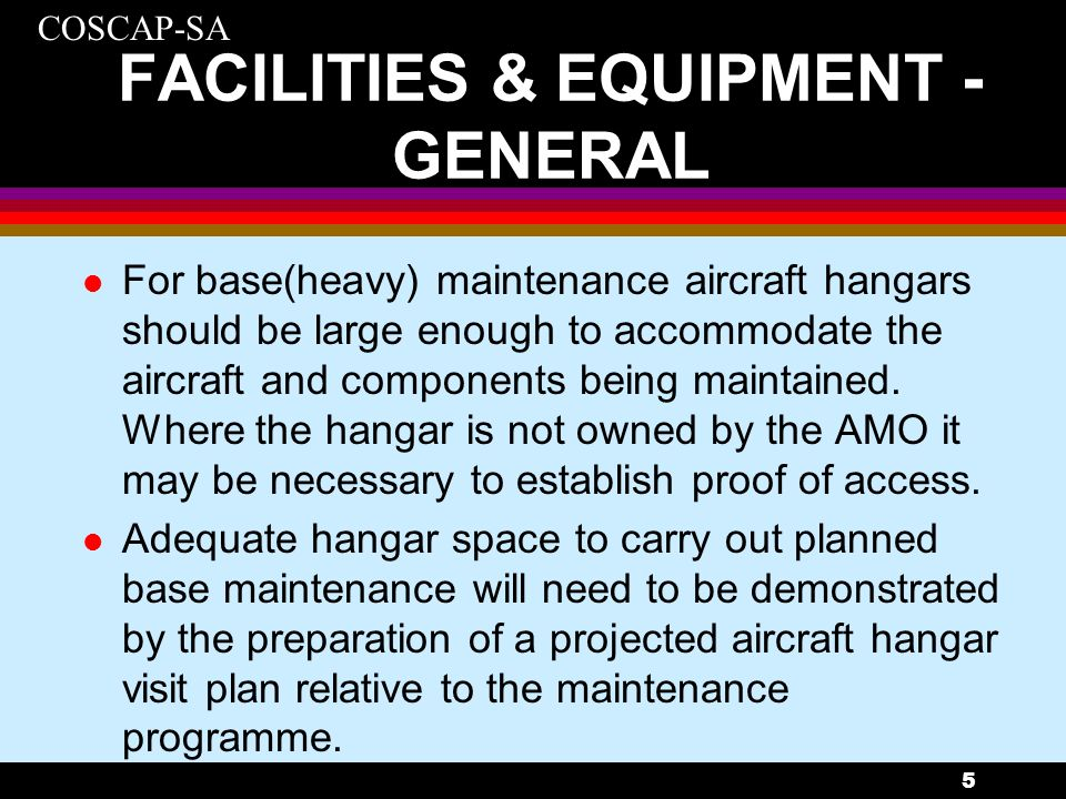 FACILITIES & EQUIPMENT - GENERAL