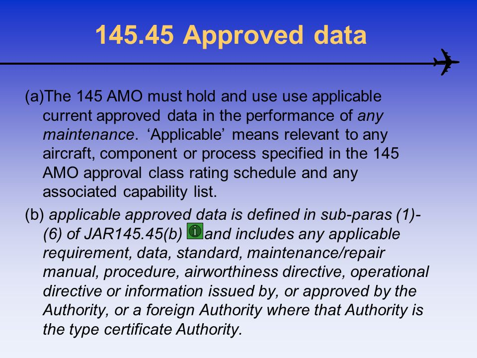 145.45 Approved data