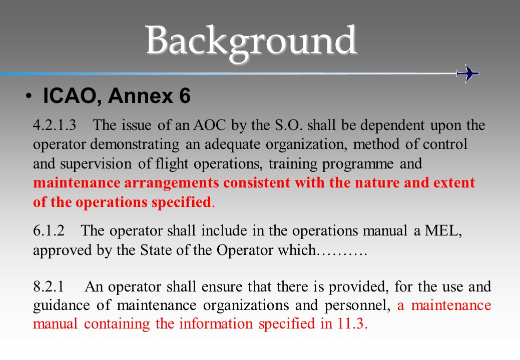 Background ICAO, Annex 6.